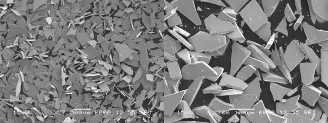 SEM photos of MQP powder flakes